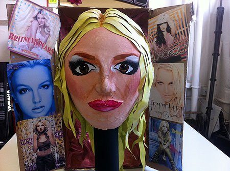 A variety of papier mache Britney Spears heads