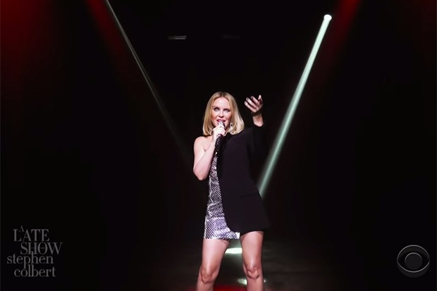 """Kylie Minogue Brings A Little """"Magic"""" To 'Colbert'"""