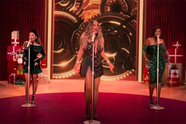 """Mariah Carey, Ariana Grande & Jennifer Hudson's Festive """"Oh Santa"""" Remix"""
